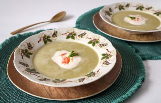 Courgette soep met Garnalen